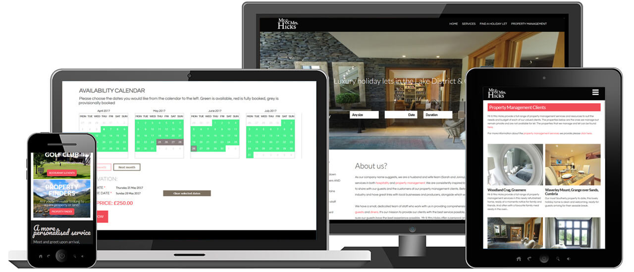Responsive Holiday Lettings Website with Online booking & Payment System